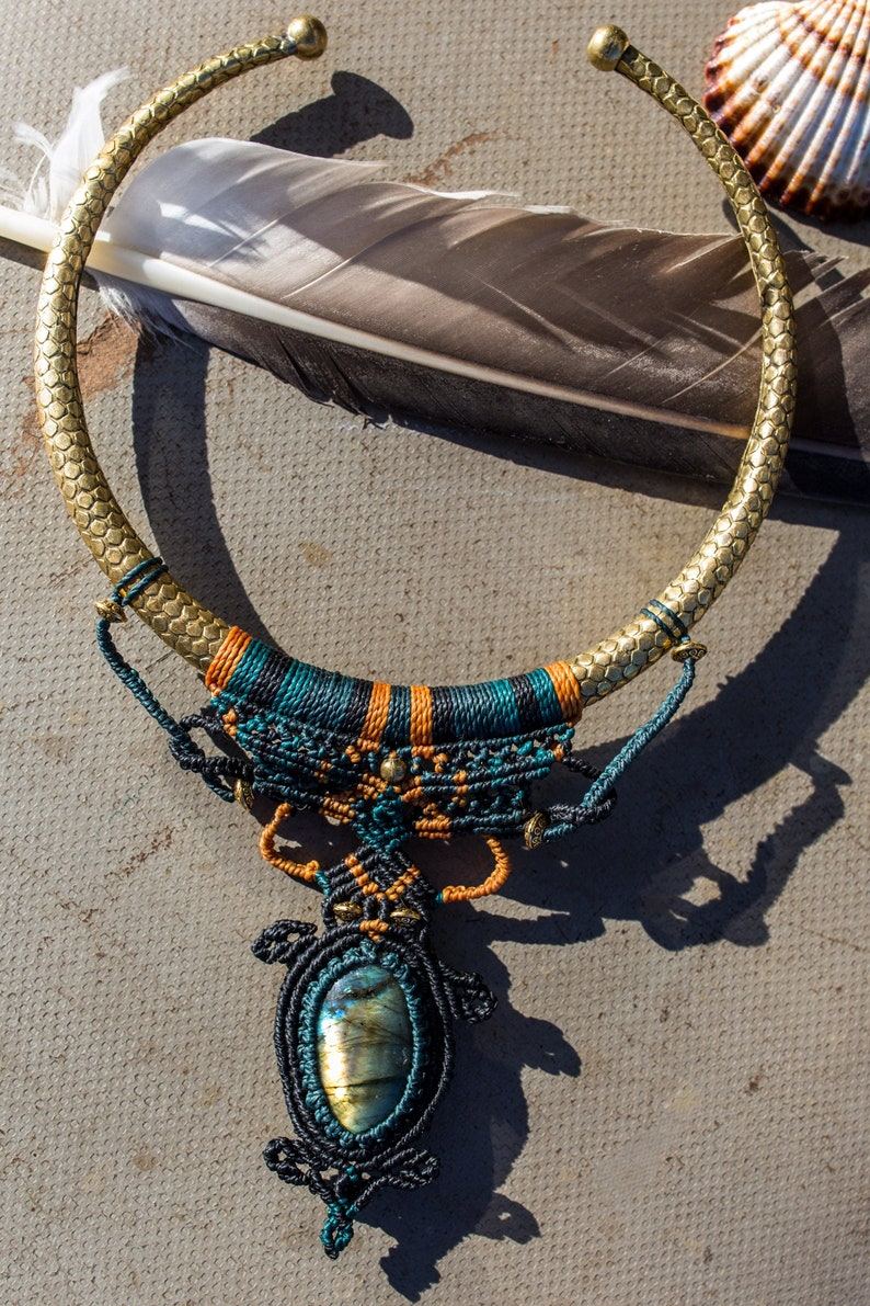 Statement Hobo Macrame Choker With Amazing Labradorite Gemstone Indian Brass HoopBeaded Hippie Tribal Wowen NecklaceOne Size Boho Jewelry