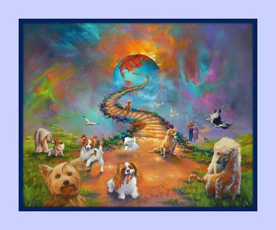 rainbow bridge all dogs go to heaven vivid 11x14 matted 8x10 etsy