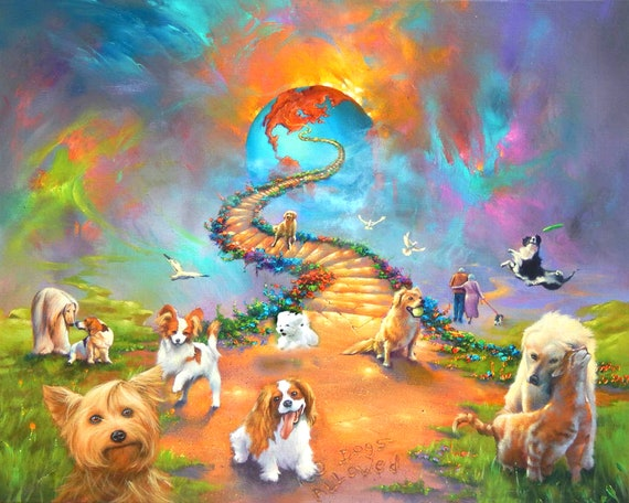 Rainbow Bridge  Labrador retriever 11x14 Matd 8x10 Print Dog Sympathy Memorial