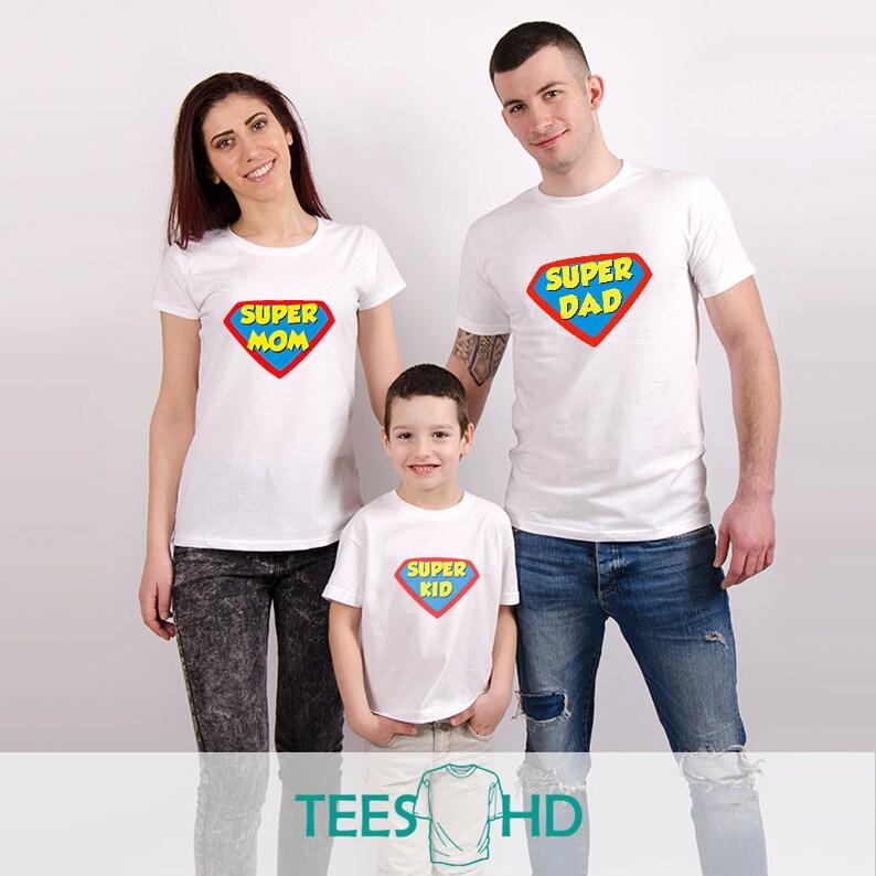 f526ba7bb58c T-shirt Mommy Daddy Kid Super-Father Super-Mother Super-Kid
