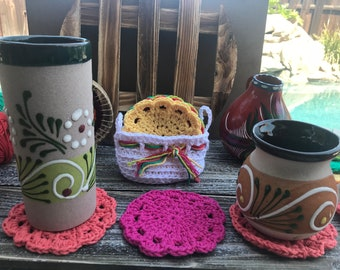 Crochet Coasters, Handmade Coasters Crochet, Coffee Crochet Coasters, Set Coasters Crochet in Basket, Color Crochet Coasters, Cotton Coaster