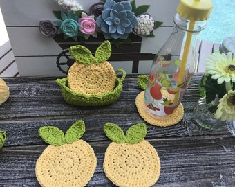 Coaster Crochet Lemons, Summer Crochet Lemons Coasters, Handmade Crochet Lemons Coasters, Cotton Crochet Lemons Coasters, Lemons Coasters