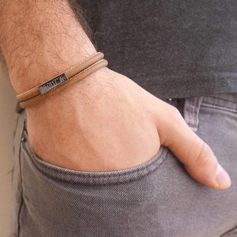 Boyfriend Gift Men/'s Custom Bracelet Men/'s Engraved Bracelet Husband Men/'s Personalized Bracelet Personalized Leather Bracelet