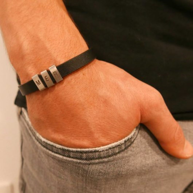 Men/'s Personalized Bracelet Men/'s Leather Bracelet Man Gift Black Engraving Boyfriend Gift Engraved Bracelets for Men Custome Man