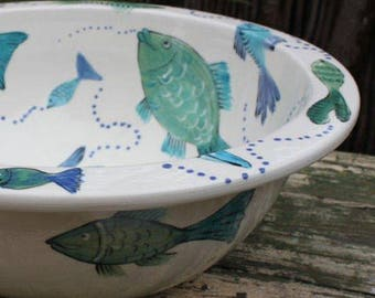 White Hand Painted Fish African Ceramic Wash Basin