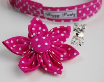 Pink Spotty Dotty Flower for Collar - Matching Lead, Collar & Accessories available