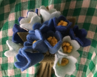 1940's style make do and mend hand made felt posy brooch