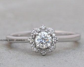 0.95 CT Sky Blue With 0.45CT Colorless Round Moissanite White Gold Promise Ring,Argentium Ring,Wedding Ring,Engagement Ring,Moissanite Ring