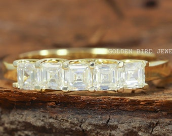 1.00 CT Asscher Moissanite Band   Unique Wedding Band   5 Stone Moissanite Band  Moissanite Engagement Eternity Band   Promise Ring For Her