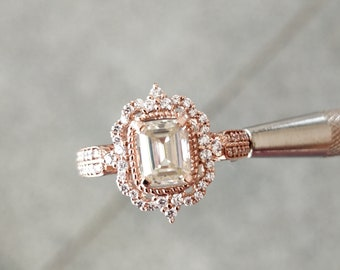 ecb90907cf3 1.50 CT Emerald Cut Near White Moissanite with 14KT Rose Gold Engagement  Ring