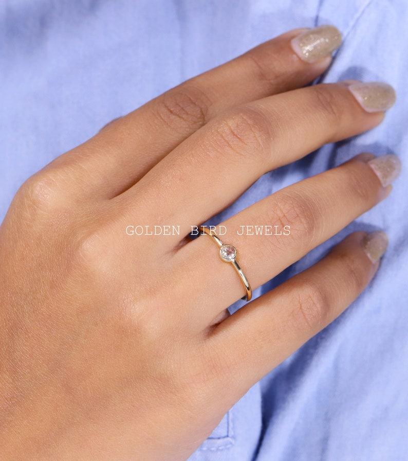 Rose Cut Solitaire Ring Colorless Round Moissanite Dainty Ring Bezel Set Engagement Ring For Her 14K Gold Pretty Ring For Your Girlfriend