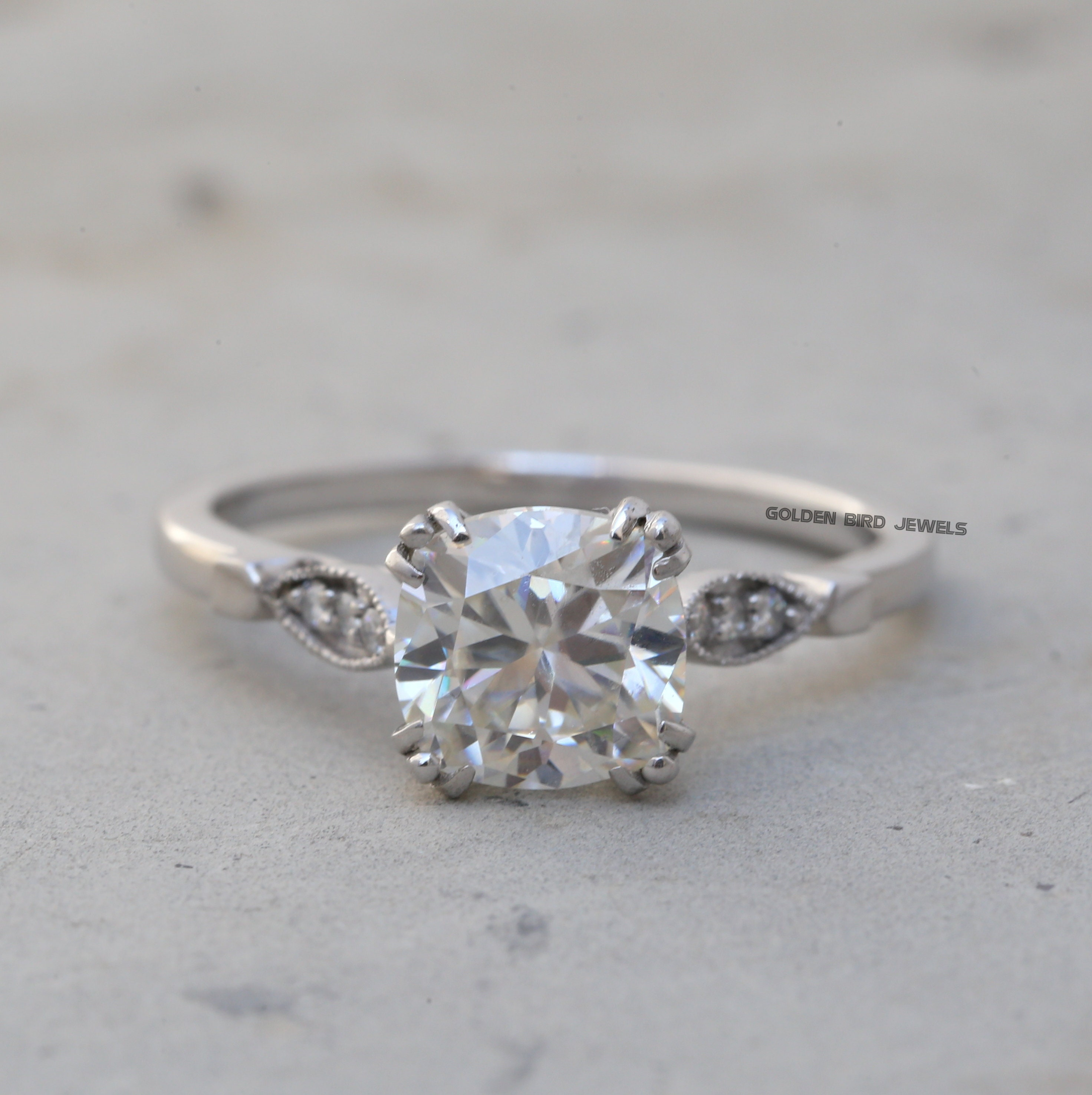 2.00Ct Cushion-Cut Certified Moissanite Engagement Ring 925 Sterling Silver