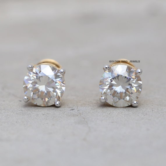 VVS GH Clarity: 0.30 to 4.00 Carat Round Brilliant Cut Moissanite Diamond Studded Earrings Color: