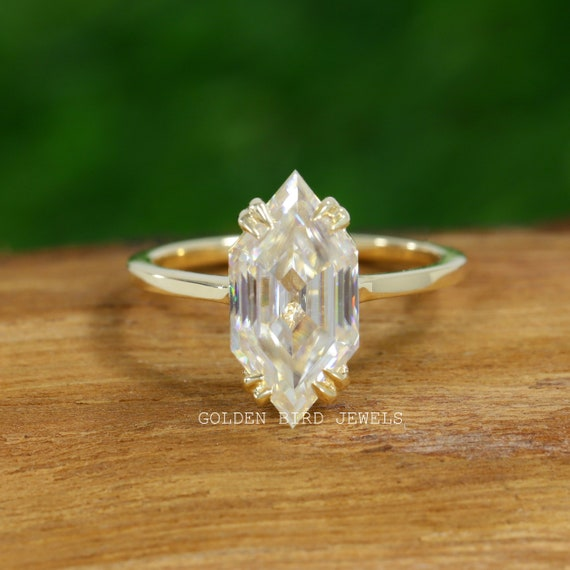 Anniversary Ring  Wedding Ring 3.00 CT Portuguese Cut Colorless Moissanite  Solitaire 4 Prongs Wedding Rose gold  Ring Premium Collection,