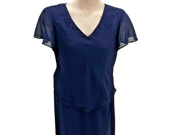Karin Stevens 14 Two Piece Dress Skirt Set Bead Embellished Midi Classic Elegant Solid Navy Blue