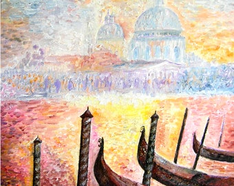 Dream of Venice, figurative painting by listed artist Ellhea Impressionist canvas