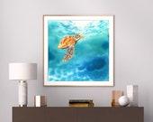 Turtle swimming in the sea fine art print.
