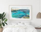 Boats sailing, ocean scene fine art print.