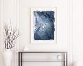 Yacht sailing on opened sea (from above view) fine art. Original watercolor.