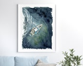 Yacht sailing on opened sea (from above view) fine art print.