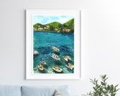 Boats in front, houses in the background fine art print