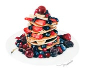 Pancakes with berries and honey Fine Art Print