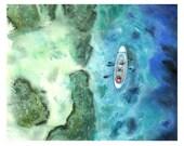 Original Painting. Sailing Kayak Turquoise Ocean Watercolor Original Painting