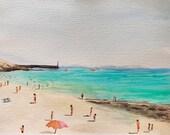 Tourists on the beach. Turquoise sea fine art print.