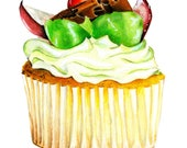 Muffin with fruits fine art print