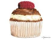 Raspberry Cupcake Fine Art Print. Cupcake Illustration. Unframed.
