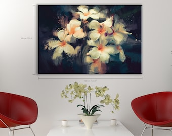 Vintage Colors Wall Decor #6PP Removable Material Painting Showing Beautiful White Flowers In Dark Background Self-Adhesive Poster