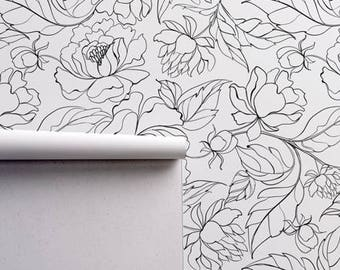 Black and white wallpaper etsy peony self adhesive wallpaper free shipping floral removable regular wallpaper flower wall mural floral wallpaper black and white 36 mightylinksfo