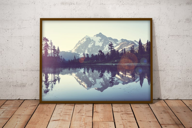 Picturesque Lake Self-Adhesive Poster Mountains In The Background Wall Art Beautiful Lakeside View Large Wall Decoration #2PM