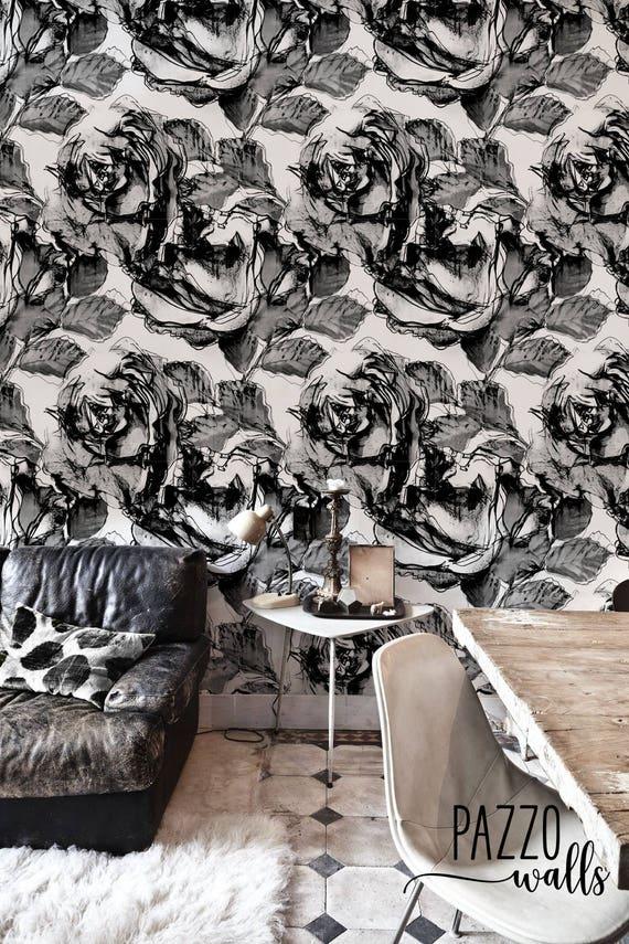 Peel and Stick Wallpaper #57 Geometric wallpaper Aquarelle ink circles Wallpaper Renters decor Traditional or removable Wallpaper