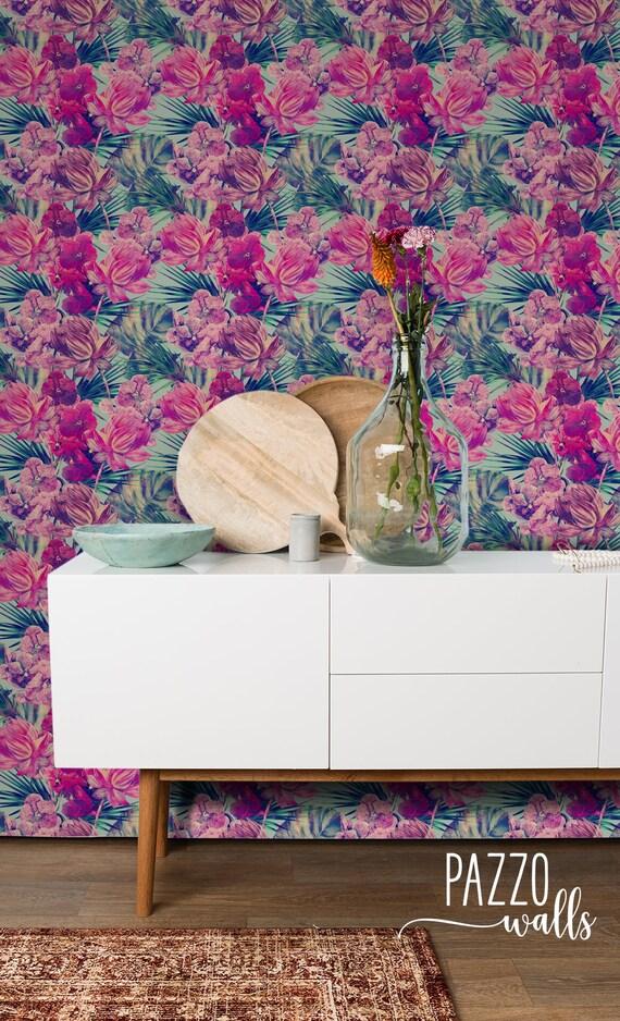 Pink Tropical Wallpaper Renters Decor Self Adhesive Removable And Regular Wallpaper Tropical Wall Mural Tropical Print Wallpaper 29