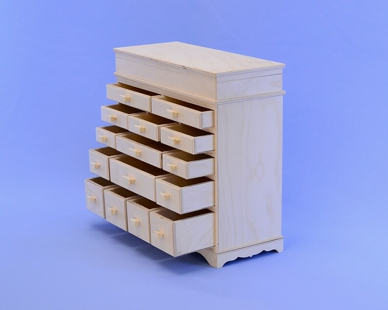 Blank for boxes,doll/'s dresser,doll furniture,wood for creativity decoupage Unfinished Wooden box jewelry box.# 62