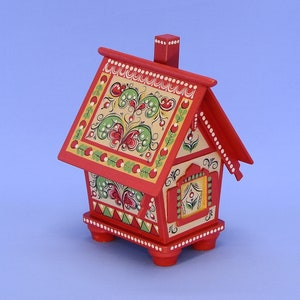Handmade A small box in the form of a Russian village house style-Mezen painting.