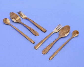 A set of handmade wooden Cutlery for two . For a romantic meeting. Environmentally friendly product.  No. 35.