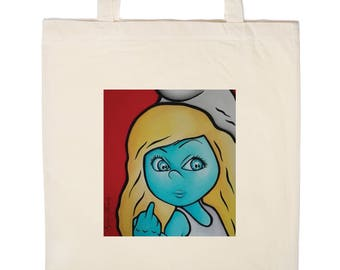 """large Tote Bag """"Rebel"""" with long handles, cream color organic cotton. FRENCH MANUFACTURING."""