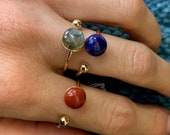 Adjustable, silver or gold ring with stone