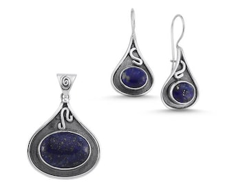 Sterling Silver Hand Made Set with Lapis Lazuli:Earrings and Pendant