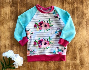 Toddler Crewneck Floral Stripe