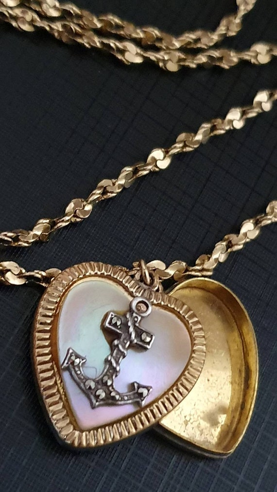 Antique Gold, Marcasite and Mother of Pearl Locke… - image 1
