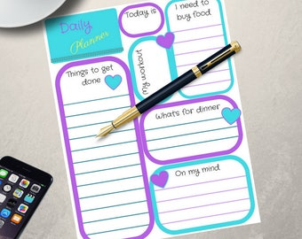 Purple daily planner digital file/printable daily planner/teal daily planner/daily planner instant download/daily planner/digital download