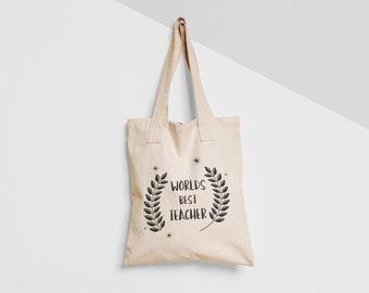94a34681ae Worlds Best Teacher Tote Bag Natural Black Shopper Environmentally Friendly  Gift Present Birthday Christmas End Of Term Teachers Pet School