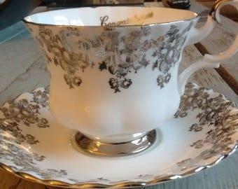"Royal Albert Bone China England "" Congratulations 25th Anniversary"" tea cup and saucer c. 1974"
