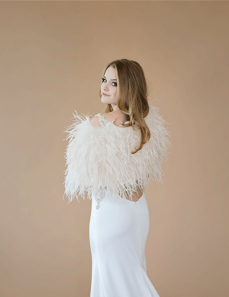 48da284945ee Real Ostrich Feather Bridal Wedding Cape/Bolero/Shrug/Jacket | Etsy
