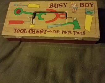 Vintage Busy Boy Tool Chest metal toy
