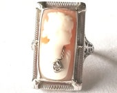 Antique Edwardian Cameo Ring Pretty Woman with partial Necklace Large rectangle in 14K White Gold
