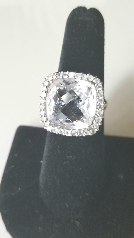 Huge White Topaz Square Halo Ring Vintage Estate Statement Jewelry